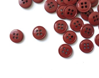 12 Burgundy Red Plastic Buttons, 10mm