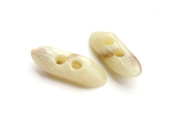 2 French Antique Long Ivory Tortoise Buttons, 40mm