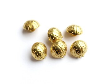 5 French Vintage Gold Metal Ladybug Buttons, 13mm