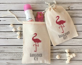 Flamingo Bachelorette Party Bags -  Hangover Kit Bags - Glitter Flamingo Party Favors - Flamingo Wedding Favors - Pink Flamingo Party