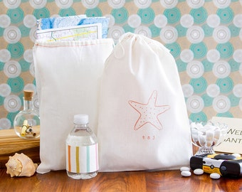 Starfish Wedding Welcome Bags - Coral Wedding Welcome Bag - Tropical Wedding Favors - Destination Wedding Welcome Bags - Custom Welcome Bags