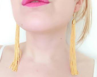 Yellow Tassel Earrings - Mustard Drop Earrings - Tassel Jewelry - Statement Earrings - Long Tassel Earrings - Fringe Earrings - Gift for Her