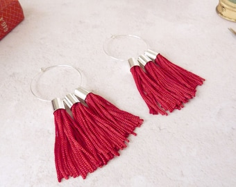 Red Tassel Earrings - Hoop Tassel Earrings - Red Hoop Earrings - Large Red Earrings - Red Tassels - Statement Earrings - Stocking Stuffer