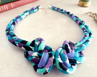 Turquoise Rope Necklace - Statement Knot Necklace - Blue Fabric Necklace - Teal Collar Necklace - Liberty Print Jewelry - Gift For Her