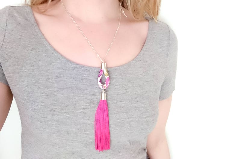 Long Pink Tassel and Teardrop Pendant