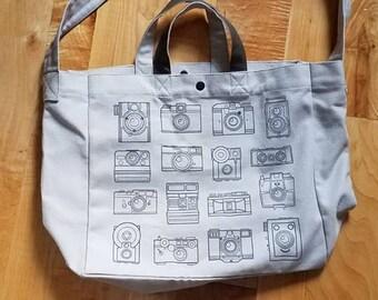 JULY PREORDER Canvas shoulder bag camera outlines screenprinted / tote photography vintage analog film messenger travel sling handbag purse