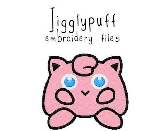 Pokemon Jigglypuff EMBROIDERY MACHINE FILES pattern design hus jef pes dst all formats Instant Download digital applique kawaii cute