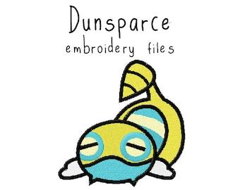 Pokemon Dunsparce EMBROIDERY MACHINE FILES pattern design hus jef pes dst all formats Instant Download digital applique kawaii cute