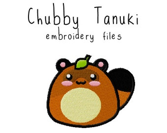 Tanuki EMBROIDERY MACHINE FILES pattern design hus jef pes dst all formats raccoon animal japanese Instant Download digital applique cute