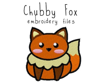 Fox EMBROIDERY MACHINE FILES pattern design hus jef pes dst all formats animal woodland forest wolf Instant Download digital applique cute