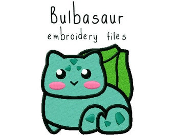 Pokemon Bulbasaur EMBROIDERY MACHINE FILES pattern design hus jef pes dst all formats Instant Download digital applique kawaii cute
