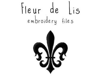 Fleur de Lis EMBROIDERY MACHINE FILES pattern design hus jef pes dst all formats french paris france Instant Download digital applique cute