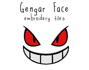 Pokemon Gengar face EMBROIDERY MACHINE FILES pattern design hus jef pes dst all formats Instant Download digital applique kawaii cute