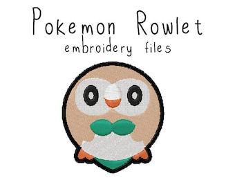 Pokemon Rowlet EMBROIDERY MACHINE FILES pattern design hus jef pes dst all formats Instant Download digital applique kawaii cute