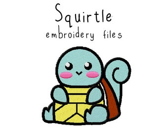 Pokemon Squirtle EMBROIDERY MACHINE FILES pattern design hus jef pes dst all formats Instant Download digital applique kawaii cute