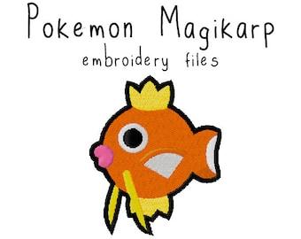Pokemon Magikarp EMBROIDERY MACHINE FILES pattern design hus jef pes dst all formats Instant Download digital applique kawaii cute