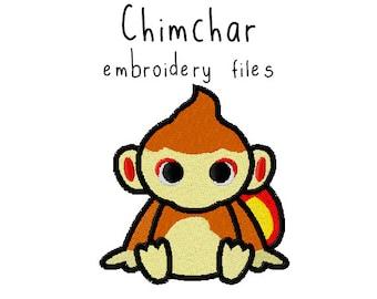 Pokemon Chimchar EMBROIDERY MACHINE FILES pattern design hus jef pes dst all formats Instant Download digital applique kawaii cute
