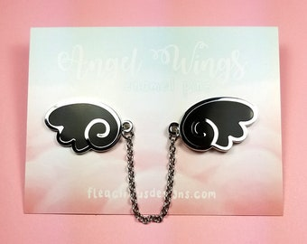 Angel wings enamel pins with chain - black silver wing lapel pin brooch badge flair collar pin hat pin kawaii anime manga japanese fashion