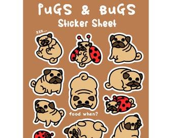 pugs dog sticker sheet stickers planner vinyl kiss cut matte ladybug puppy kawaii scrapbooking cute