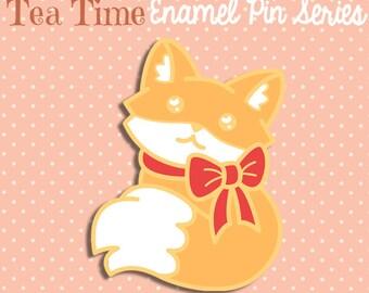 PREORDER JULY Fox enamel pin pastel glitter 3.5cm kawaii bow orange cute fancy lapel pin brooch badge flair collar pin hat pin nature animal