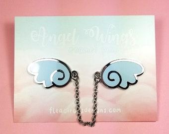 Angel wings enamel pins with chain - blue silver wing lapel pin brooch badge flair collar pin hat pin kawaii anime manga japanese fashion