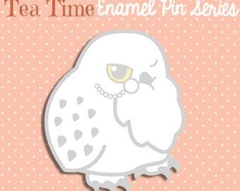 PREORDER JULY Snowy Owl enamel pin glitter 3cm kawaii white cute fancy lapel pin brooch badge flair collar pin hat pin nature animal
