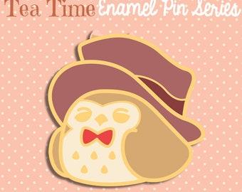 PREORDER JULY Owl enamel pin glitter 3cm kawaii top hat brown cute fancy lapel pin brooch badge flair collar pin hat pin nature animal