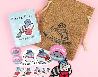 Poe Goodie bag with patch notepad button magnet and stickers pouch - pigeon dove poe egglesworth kawaii post office pigeons birds bird badge