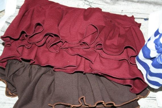 Women's Ruffle Pants (XL to 3X) Custom Made - Capri, Two Ruffle, Yoga Waist