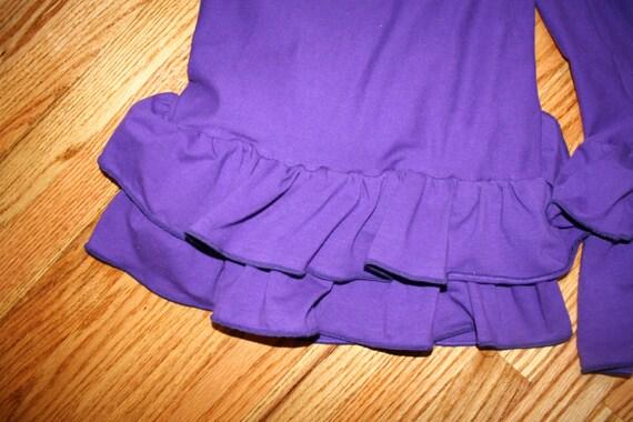 Womens Ruffle Pants Yoga Waist (Custom Made) - Solid Colors with Two Ruffles in Capri Length