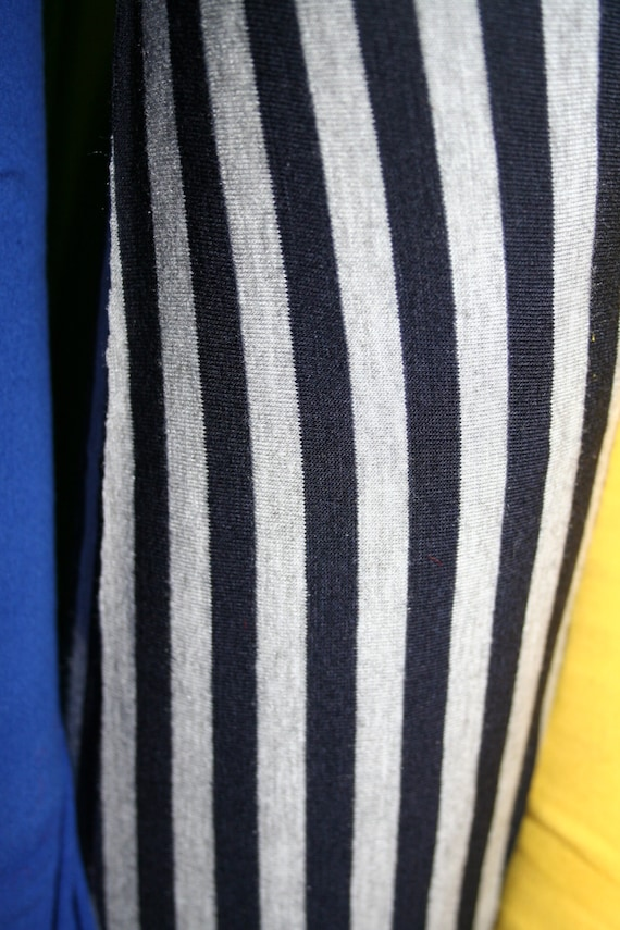 Navy/Heather Gray  Jersey Lycra Stripe Knit (by the yard)