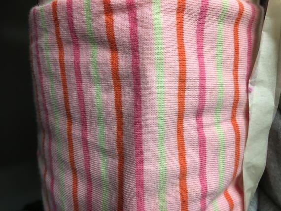 """Pink  1/4"""" Jersey Lycra Multi-Stripe Knit (by the yard)"""