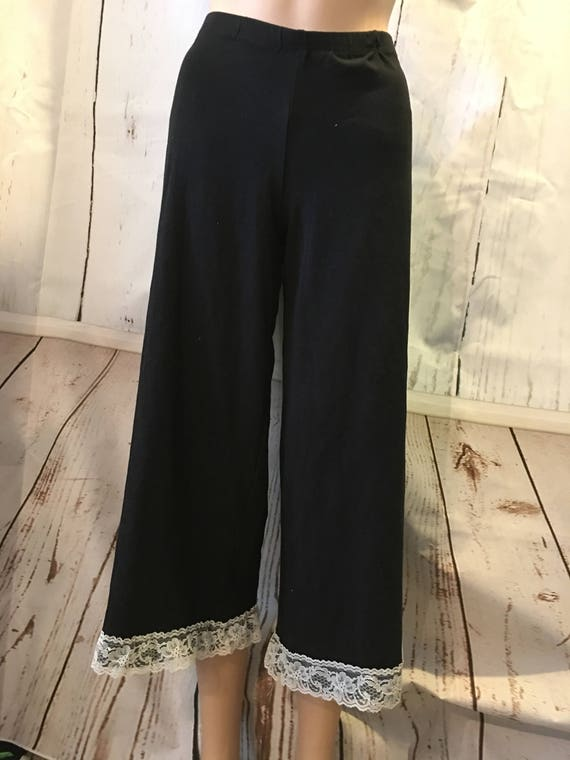 Wide Lace Edged Pants - Wide Legs - Womens Custom