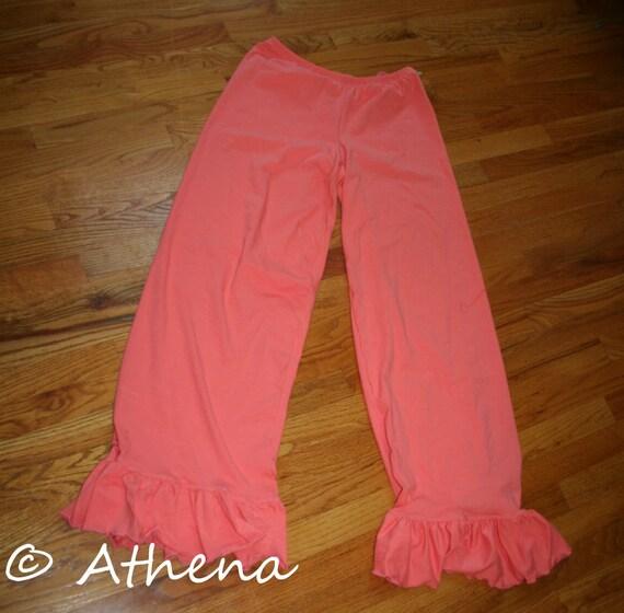 Womens Ruffle Pants - One Ruffle - elastic Waist (Custom Made - Mama Ruffles) - Full Length