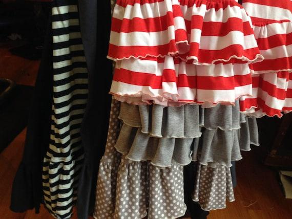 Women's Two Ruffle Pants Yoga Waist Prints & Solid Color Fabric (Custom Made) - Full Length