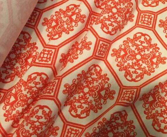 Orange Print Cotton Lycra Fabric (yard)