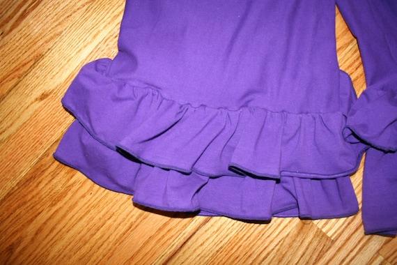 Women's Ruffle Pants Yoga Waist (XL to 4X) Custom Made -  Plus Sized with Two Ruffles - Full Length