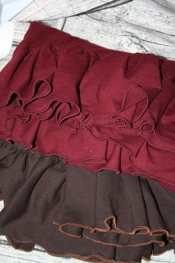 Women's Ruffle Pants Cropped (XS to 3X) Custom Made - Two Ruffle Yoga Waist