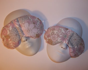 Herbal Hot/Cold Therapy Sleep Masks Mommy & Me Set with adjustable and removable strap Flowers and Flowers