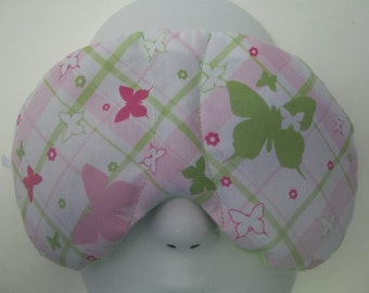 Herbal Hot/Cold Therapy Sleep Mask Butterfly Plaid with adjustable and removeable strap
