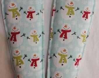 Foot Warmers Flax Seed Sock and Slipper Inserts Snowmen