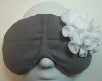 Herbal Hot/Cold Therapy Sleep Mask Gray with White Felt Flower