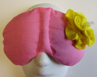 Herbal Hot/Cold Therapy Sleep Mask Rose Pink with Yellow Felt Flower