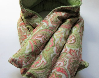 LONG Hot/Cold Therapy Neck Wrap Green and Pink Paisley