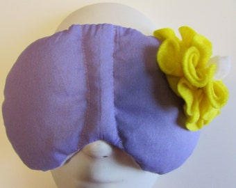 Herbal Hot/Cold Therapy Sleep Mask Purple Lilac with Yellow Felt Flower