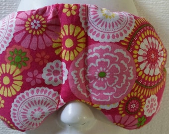 Herbal Hot/Cold Therapy Sleep Mask with adjustable and removable strap Bright Flowers on Pink