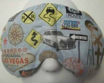 Herbal Hot/Cold Therapy Sleep Mask Road Trip Signs with adjustable and removeable strap