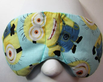 Herbal Hot/Cold Therapy Child Size Sleep Mask with adjustable and removable strap Minions