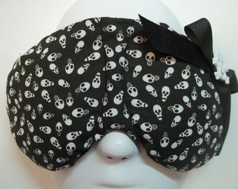 Herbal Hot/Cold Therapy Sleep Mask Tiny Skulls with bow and cross bones