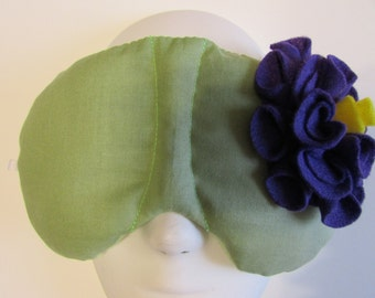 Herbal Hot/Cold Therapy Sleep Mask Sage Green with Dark Purple Felt Flower